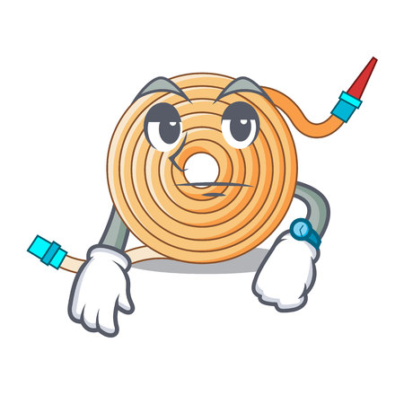 Waiting the water hose mascot vector illustration