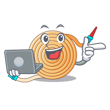 With laptop water hose character cartoon vector illustration Çizim