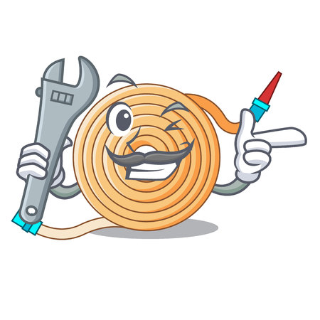 Mechanic the water hose mascot vector illustration