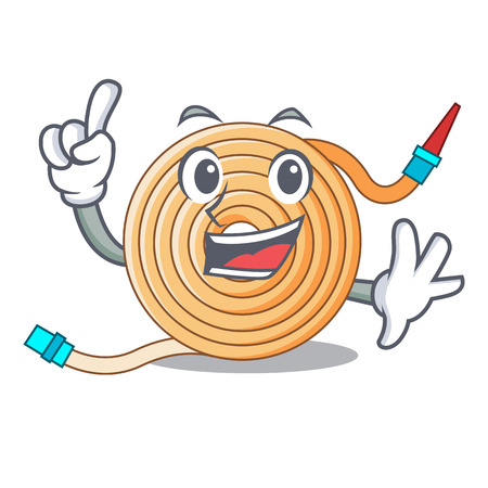 Finger the water hose mascot vector illustration