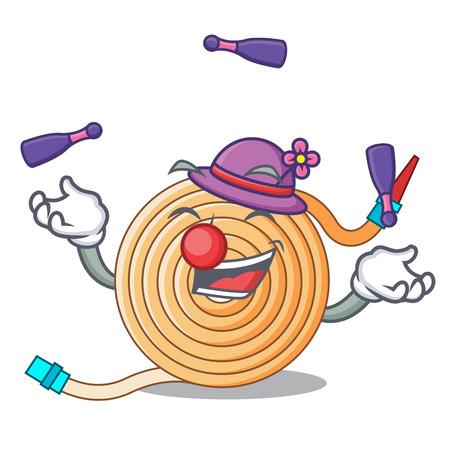 Juggling the water hose mascot vector illustration