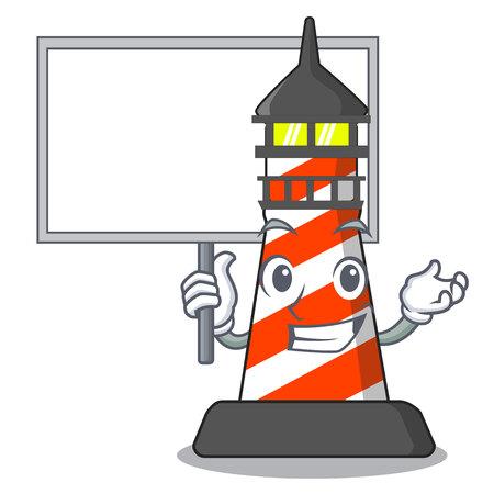 Bring board lighthouse character cartoon style vector illustration Иллюстрация