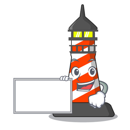 With board lighthouse character cartoon style vector illustration