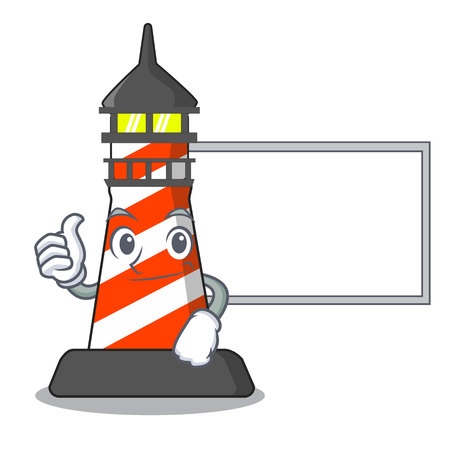 Thumbs up with board lighthouse character cartoon style vector illustration