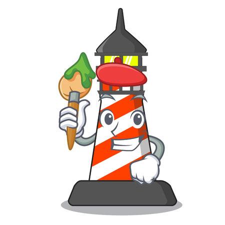 Artist lighthouse character cartoon style vector illustration Vektorové ilustrace