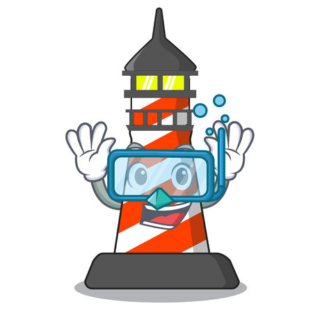 Diving cartoon realistic red lighthouse building vector illustration Çizim