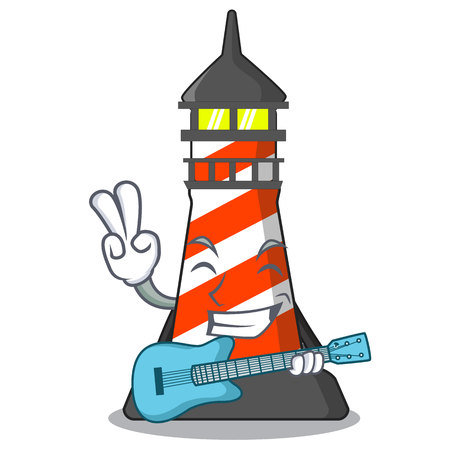 With guitar lighthouse on the beach mascot vector illustration Stock Illustratie