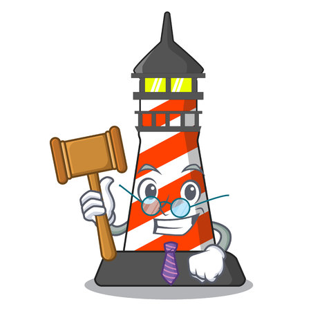 Judge classic cartoon lighthouse of red vector illustration