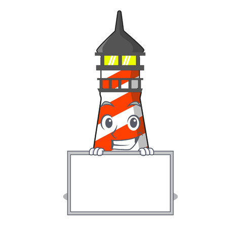 Grinning with board lighthouse character cartoon style vector illustration