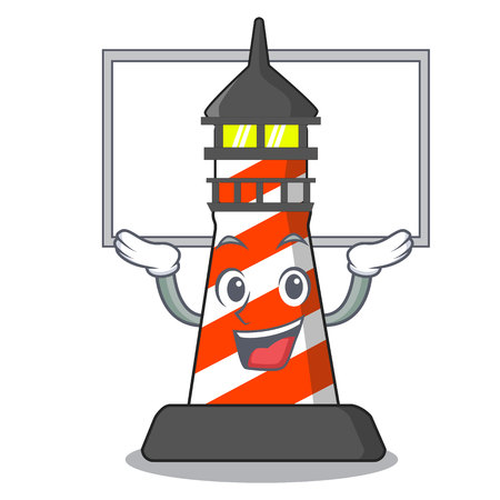 Up board lighthouse character cartoon style vector illustration