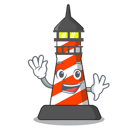 Waving cartoon realistic red lighthouse building vector illustration