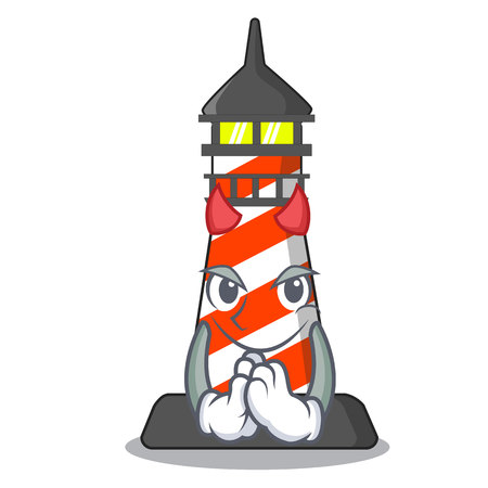 Devil lighthouse on the beach mascot vector illustration