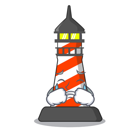 Crying lighthouse on the beach mascot vector illustration Illustration