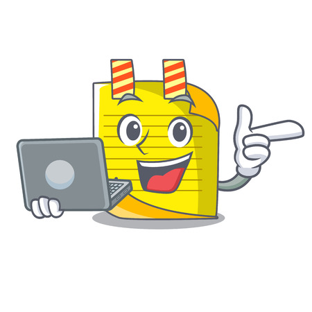 With laptop note paper character cartoon vector illustration