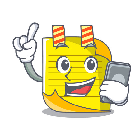 With phone note paper character cartoon vector illustration Ilustração