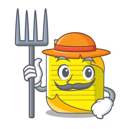 Illustration vectorielle de fermier note papier personnage dessin animé