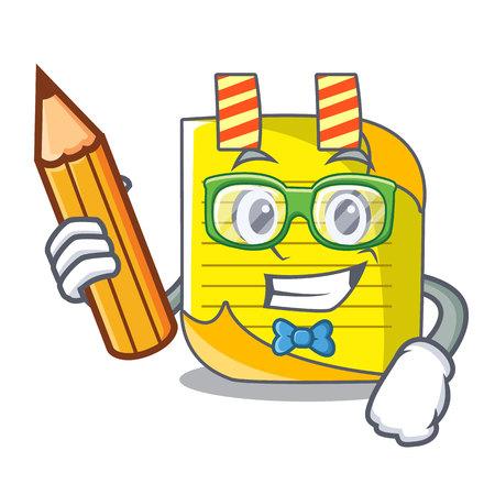 Papel de nota de dibujos animados de estudiante con ilustración de vector de idea conceptual