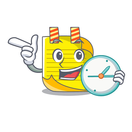 With clock cartoon note paper with conceptual idea vector illustration