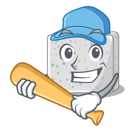 Playing baseball feta cheese character cartoon vector illustration Ilustração