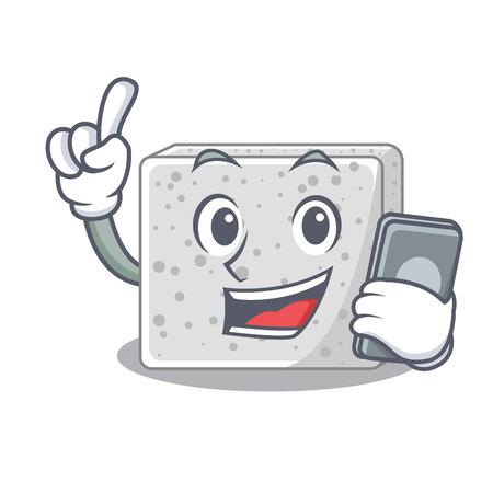 With phone feta cheese character cartoon vector illustration