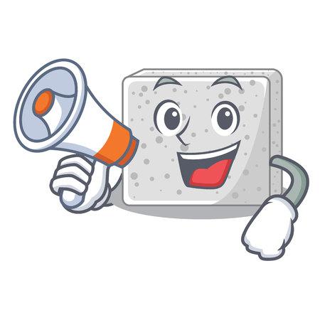 With megaphone feta cheese character cartoon vector illustration