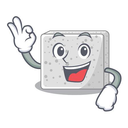 Okay feta cheese pieces character vector illustration