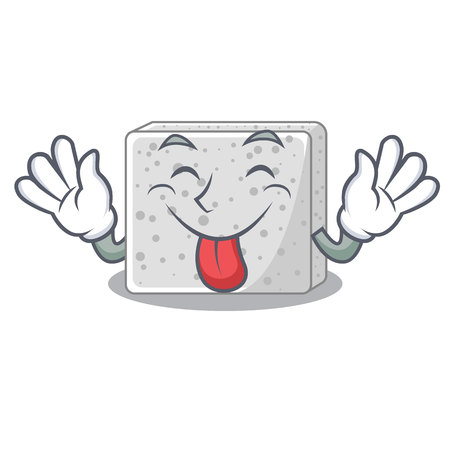 Tongue out fresh feta cheese isolated on maskot vector illustration