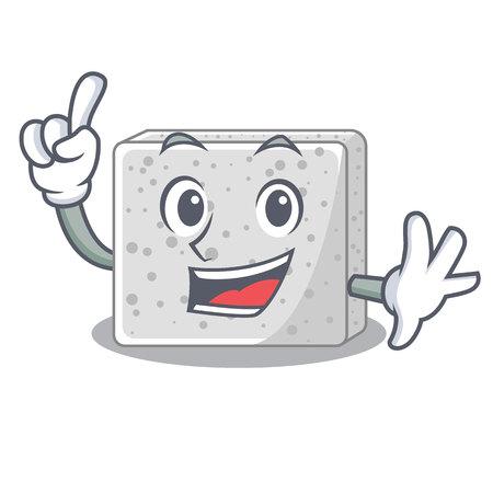 Finger fresh feta cheese isolated on maskot vector illustration
