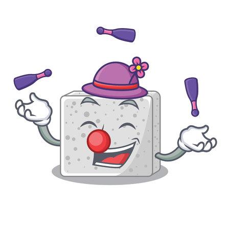 Juggling fresh feta cheese isolated on maskot vector illustration