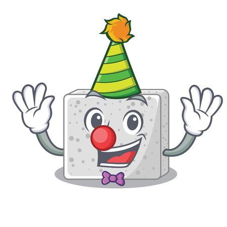 Clown fresh feta cheese isolated on maskot vector illustration Ilustracja