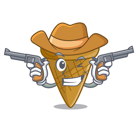 Cowboy wafer cone character cartoon vector illustration Vectores