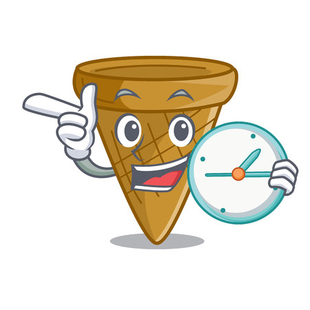 With clock cartoon ice cream wafer cone vector illustration Ilustração