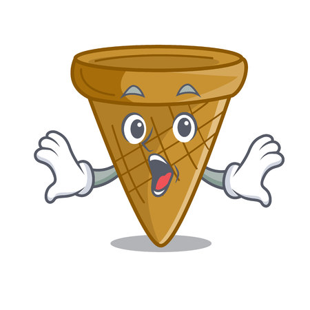Surprised empty wafer cone for ice cream character vector illustration