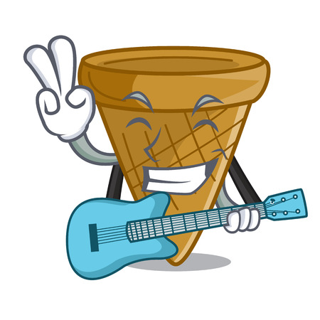 With guitar empty wafer cone for ice cream character vector illustration