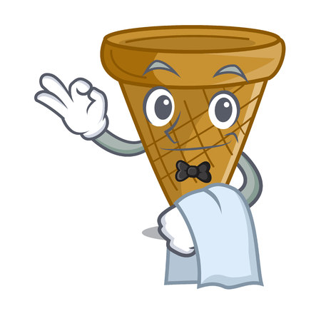 Waiter empty wafer cone for ice cream character vector illustration
