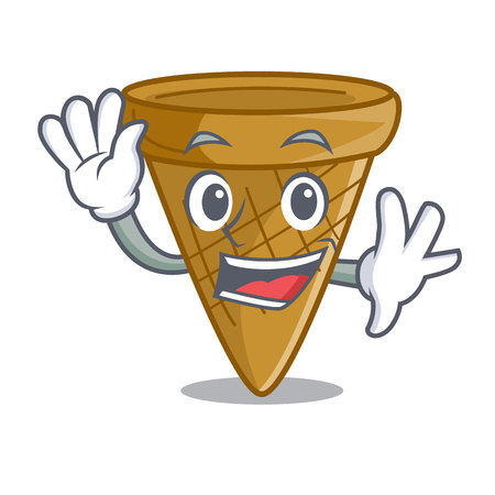 Waving cartoon ice cream wafer cone vector illustration