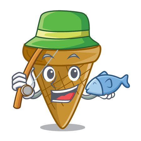 Fishing empty wafer cone for ice cream character vector illustration Vectores