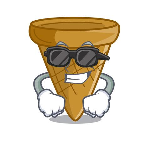 Super cool cartoon ice cream wafer cone vector illustration