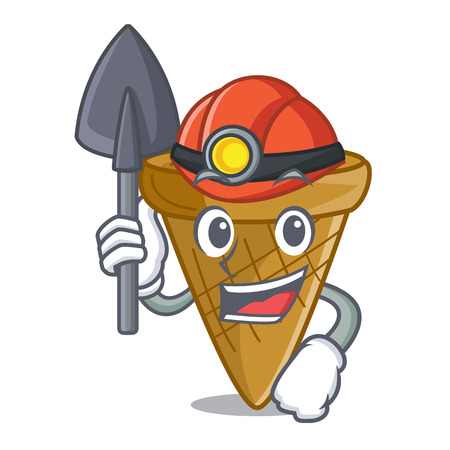 Miner empty wafer cone for ice cream character vector illustration 일러스트
