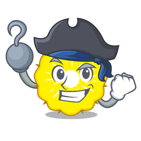 Pirate pineapple slice character cartoon vector ilustration Stock Illustratie