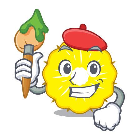 Artist pineapple slice character cartoon vector ilustration Vektorové ilustrace