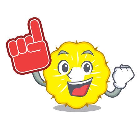 Foam finger pineapple slice isolated on mascot vector illustration