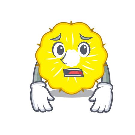 Afraid pineapple slice fruit isolated on cartoon vector illustration