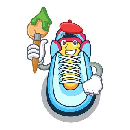 Artist classic sneaker character style vector illustration Illustration