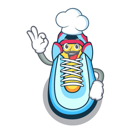 Chef cartoon pair of casual sneakers vector illustration 向量圖像