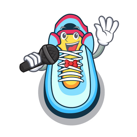 Singing cartoon sneaker with rubber toe vector illustration