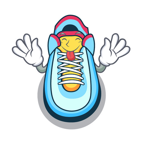 Tongue out sneaker mascot cartoon style vector illustration