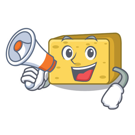 With megaphone gouda cheese character cartoon vector illustration