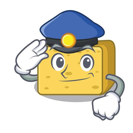 Politie Goudse kaas karakter cartoon vectorillustratie