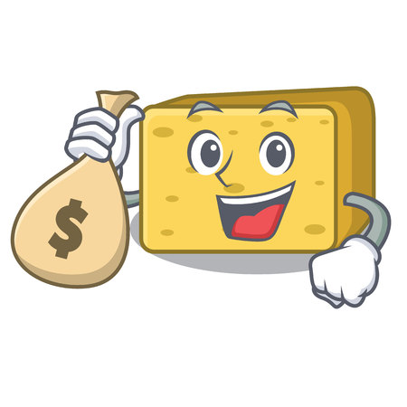 With money bag gouda cheese character cartoon vector illustration
